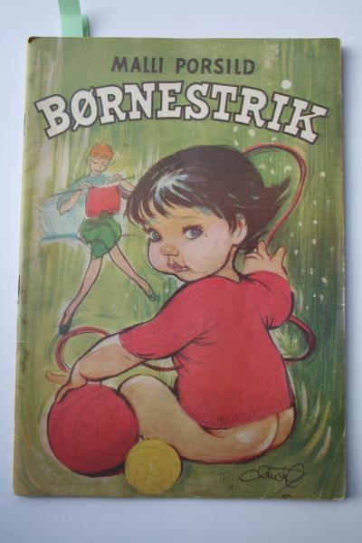 Christels forside til et hæfte om børnestrik, hvor hendes små piger er buttede og trivelige, modsat hendes unge piger.