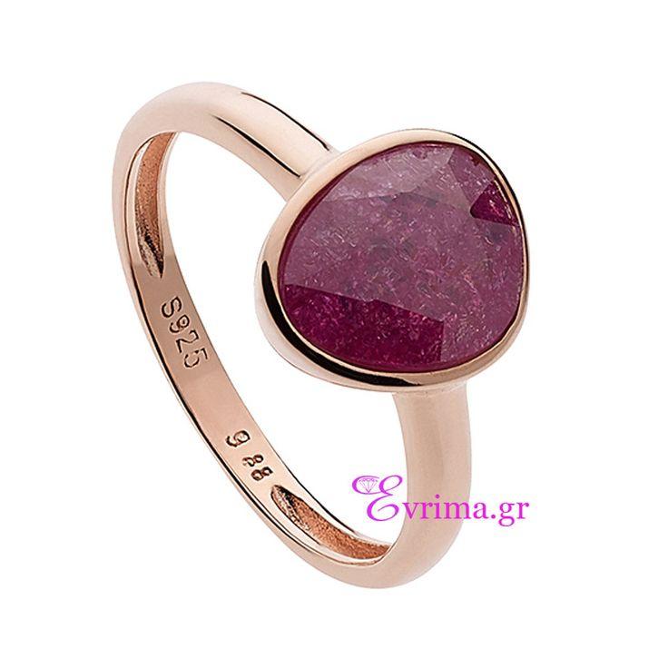 Ασημένιο δαχτυλίδι Oxette από ροζ επιχρυσωμένο ασήμι 925ο με ημιπολύτιμες πέτρες (Οπάλιος). [04X05-01032]
