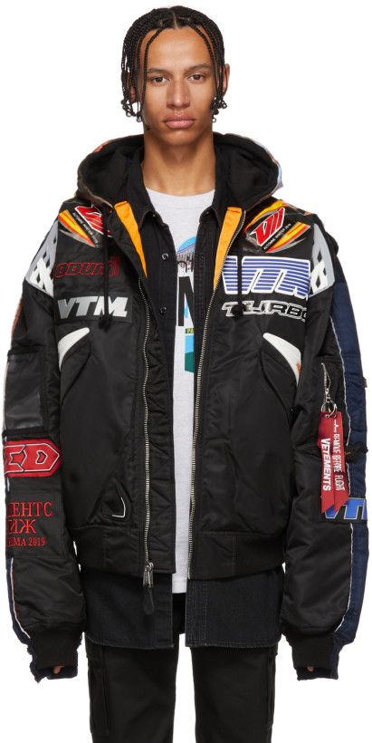 03a3ad8ced6e Vetements - Black   Navy Alpha Industries Edition Racing Bomber Jacket
