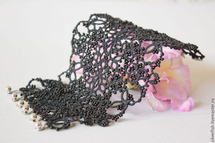 Tatting lace cuff bracelet with beads. Kateryna Levchenko