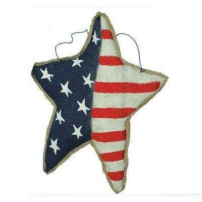 """Painted Burlap USA Flag Star Wall Hanger Assorted Heart Shaped Size:11.5-15""""W x 15""""H x 3""""D Color: Red, White, Blue, Natural Patriotic painted burlap (lightly stuffed) wall"""