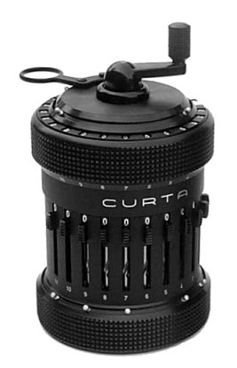 TypeII-1 Curta. The Curta is a very cool machine, designed by Curt Herzstark while incarcerated in a Nazi concentration camp! This amazing little machine can add, subtract, divide, multiply, fit in your pocket, grind pepper, predict the weather, and unlike those boring electronic calculators, the Curta has ten billion moving parts!