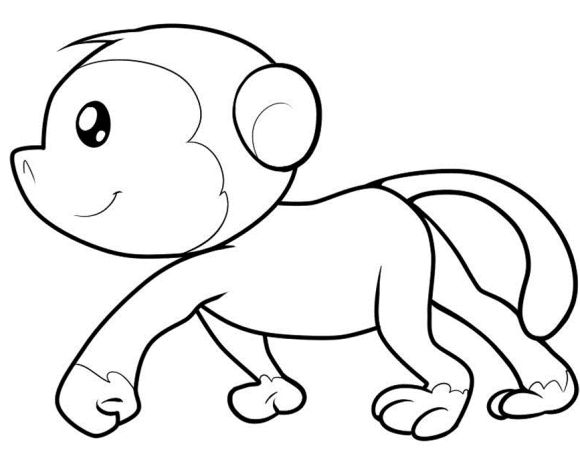 cute monkey coloring page printable 00 pinterest monkey clip art and craft. Black Bedroom Furniture Sets. Home Design Ideas