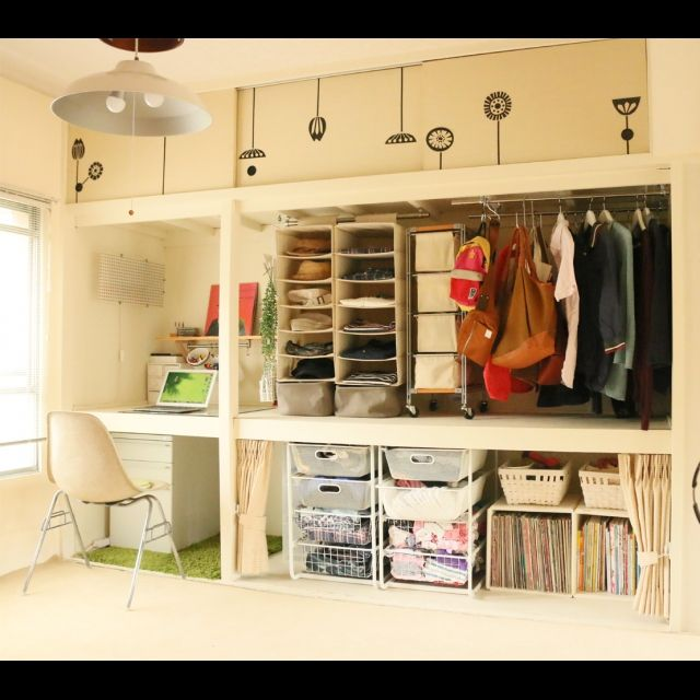Makeesさんの、ミニマリスト,作業机,MAC,見せる収納,セルフリノベーション,押入れ,DIY,IKEA,無印良品,棚,のお部屋写真