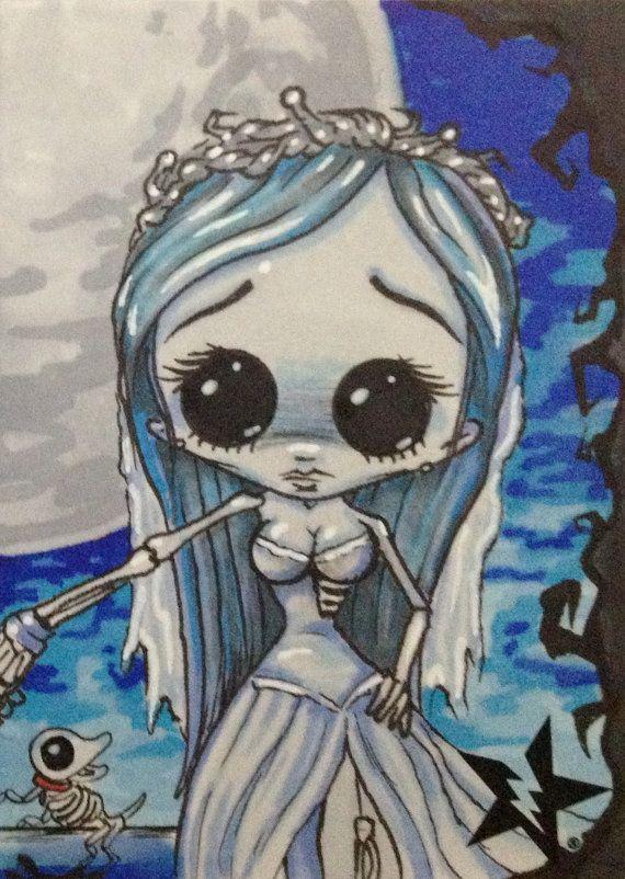 Sugar Fueled Emily Corpse Bride lowbrow creepy cute big eye ACEO mini print on Etsy, $4.00