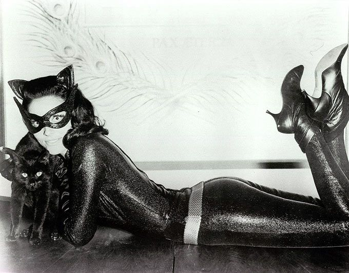 The many on-screen faces of Catwoman: Julie Newmar; Lee Merriweather; Eartha Kitt; Michelle Pfeiffer; Halle Berry; Anne Hathaway.