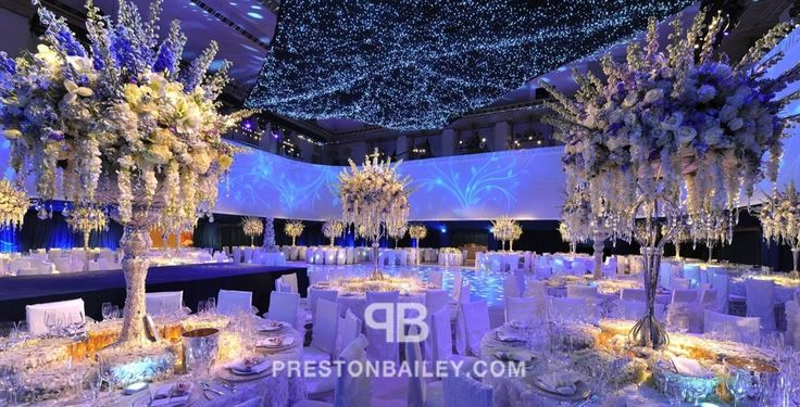 ND3_1201 - ceiling treatment, chandelier, dining, flowers, modern, reception, tall centerpiece, color|blue, color|gold, color|white
