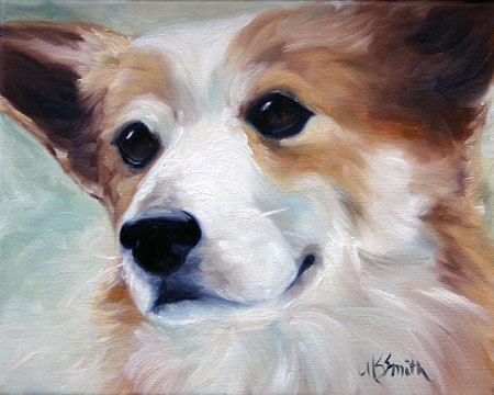 Mary Sparrow Smith from Hanging the Moon – dog art, pets, portrait, paintings, gift ideas, home decor. Pembroke Welsh Corgi
