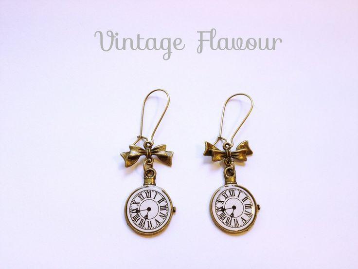 ♥ Ohrringe Uhr ♥ Vintage ♥ Schleife von Vintage Flavour ♥  auf DaWanda.com
