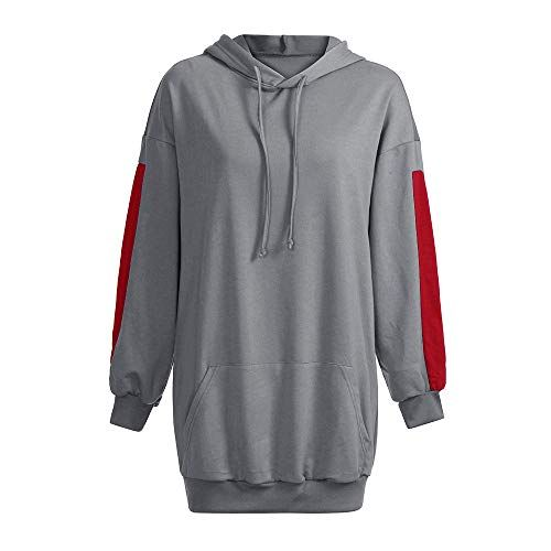 c14bea0f37db24 ZEZKT Hoodie Femme Sweat-Shirts Longues Sweats à Capuche Robe Pull ...