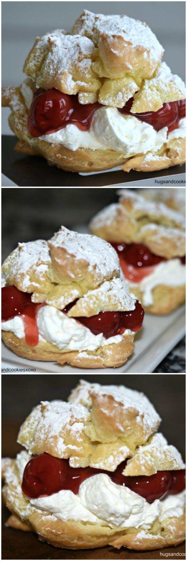 Christmas Cream Puffs with Cherries and Mascarpone Whipped Cream