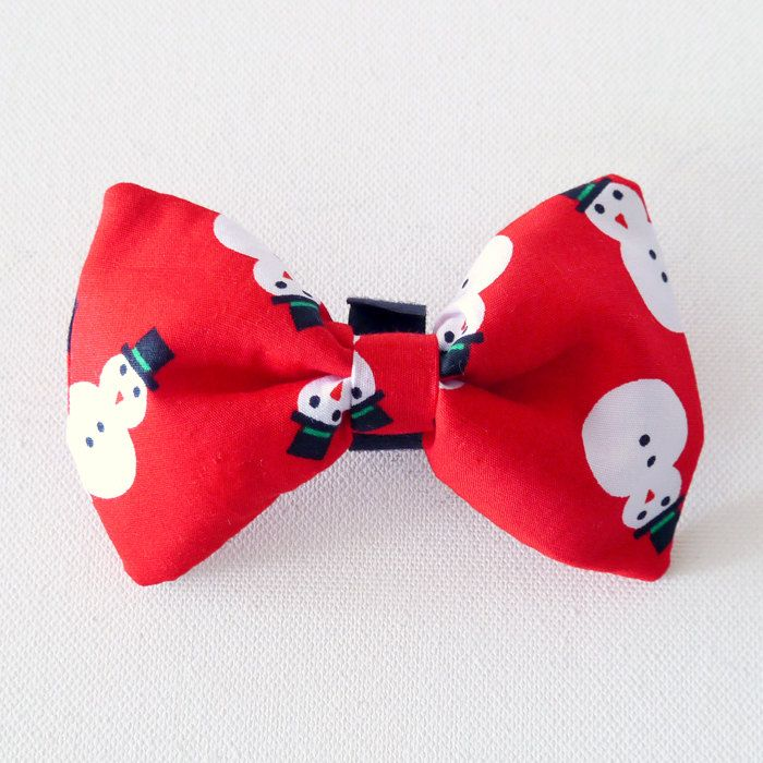 Christmas Dog Bow Tie, Pet Bow Tie, Bowtie, Collar Attachment Model Snowman by PSIAKREW on Etsy