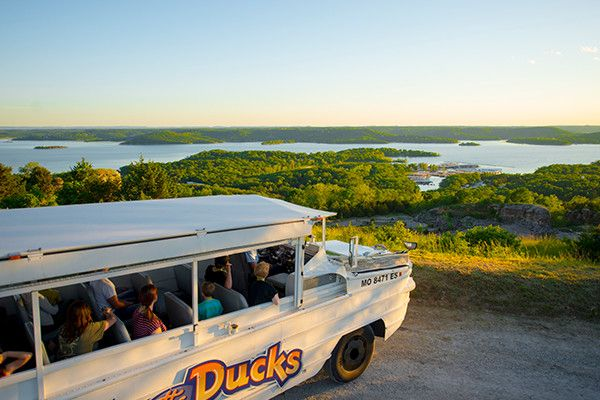 Ride The Ducks! Climb aboard this delightfully strange looking amphibious vehicle for an experience like nothing else in Branson! You'll take your Duck from the famous strip out to the lake, where you'll climb to a mountain top, enjoy wonderful views of the lake, and travel along the winding mountain road where vintage military vehicles and other fun things are displayed along the way.  #branson #lovebranson #ridetheducks #familyfun