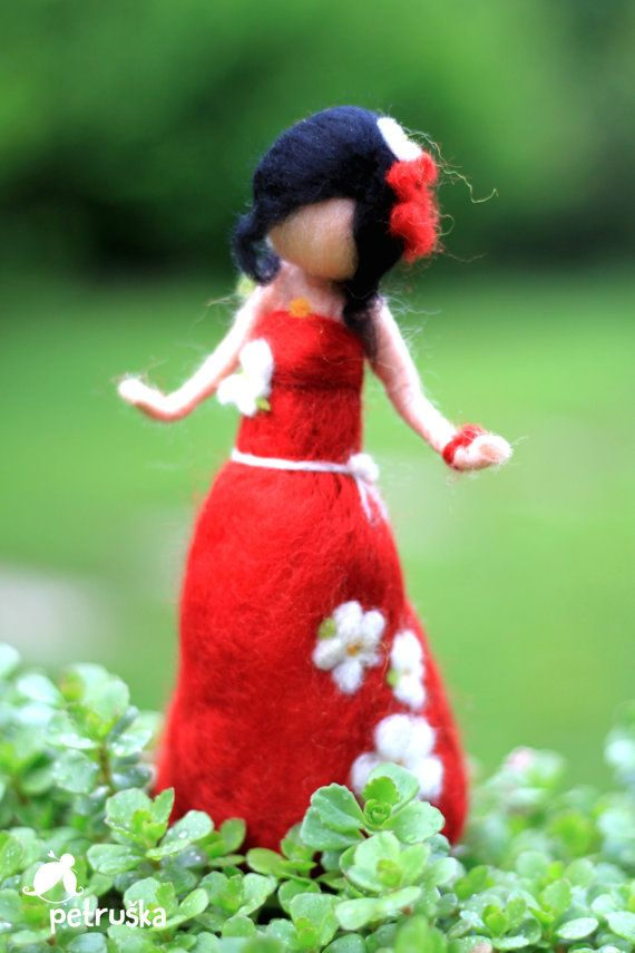 Autmn waldorf needle felted fairy wool felt by PETRUSKAfairyworld