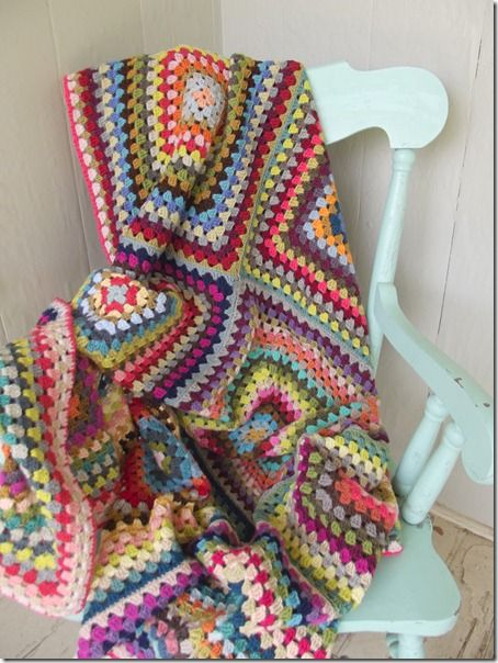 A lovely granny blanket by Cozy Things. Twelve twenty-round granny squares made one gorgeous blanket.