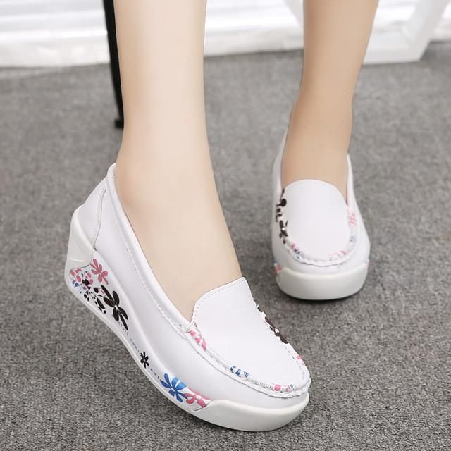 Women's Genuine Leather Platform Shoes Wedges White Lady casual Swing Mother shoes