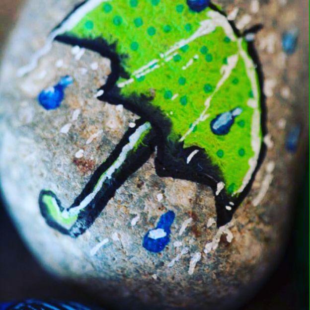 Rainy day Umbrella, pebble art