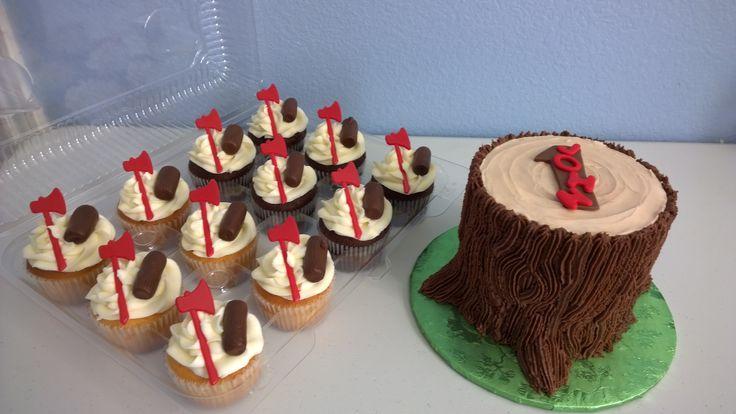 Lumberjack Themed Smash Cake And Cupcakes Fun Kreative