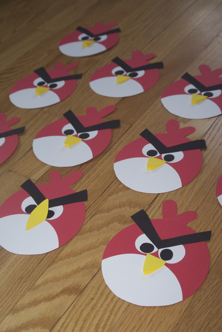 Angry birds invitations - this is the front, words are on back
