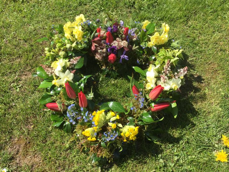 Floral tribute # spring flowers # All British grown #some homegrown in our cottage garden #Herefordshire # heart wreath ring.