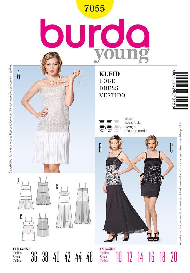 Burda 7055 Sew Pattern 1920s Flapper Style Dress or Dance ...
