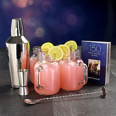 Mason Jar Cocktail Set - Vintage Cocktail Making Kit including 4 Jam Jar Glasses in Home, Furniture & DIY, Cookware, Dining & Bar, Bar & Wine Accessories | eBay