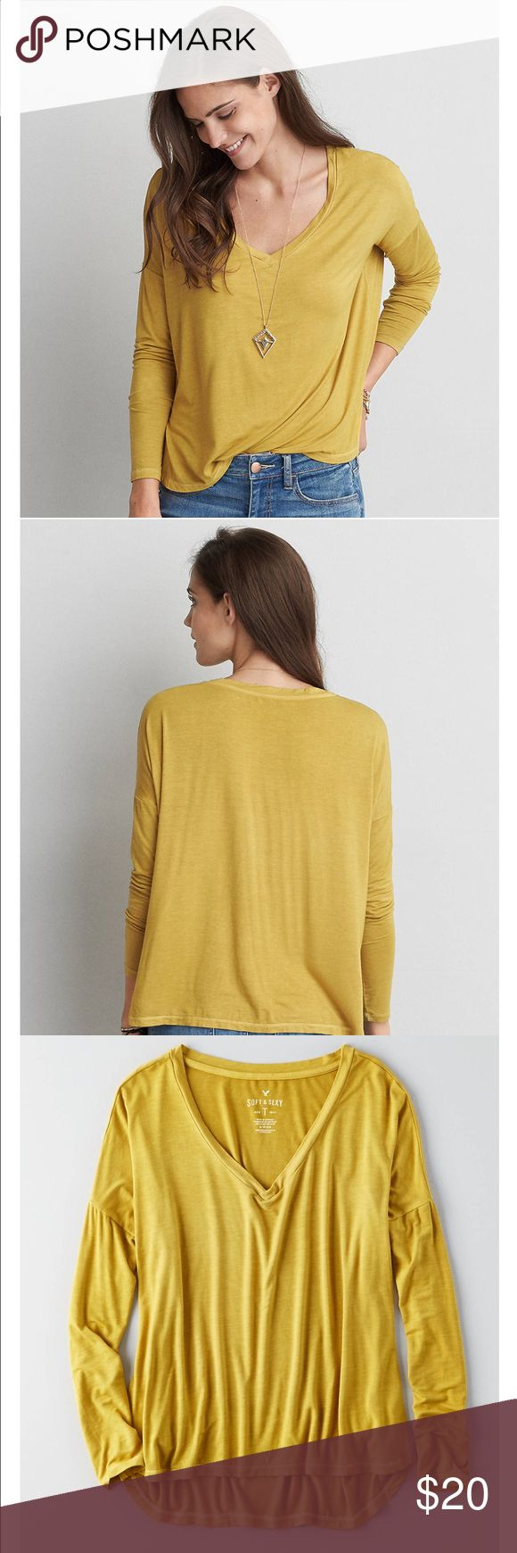 ~ NWT American Eagle Yellow/Green Long Sleeve ~ I order 2 of these shirts online by accident. Kept one and the other one is still in the packaging so brand new! Size m. American Eagle Outfitters Tops Tees - Long Sleeve