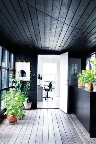love the black wood walls and vaulted ceiling with the bleached wood floor and wall of windows!