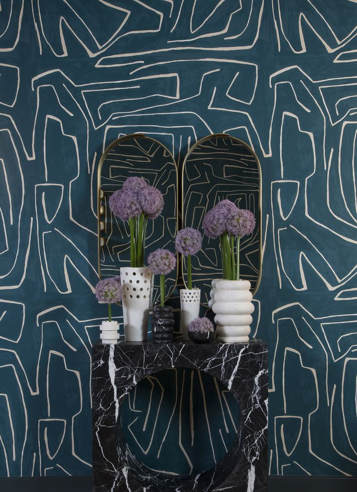 KELLY WEARSTLER | GRAFFITO WALLPAPER. In Teal Pearl