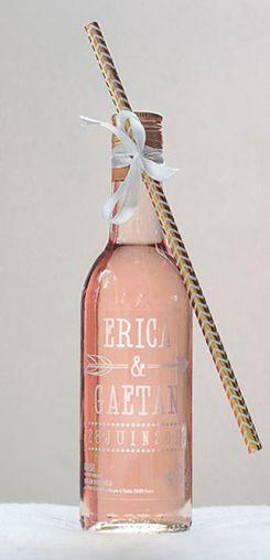 Mignonnette de rosé personnalisée mariage - modèle flèche #cadeaux #invités #vin #honneur