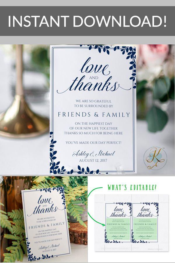Editable Pdf Thank You Table Card Template Flat Leaf Frame Navy Blue 4 X 6 Wedding Thank You Cards Thank You Card Template Wedding Thank You