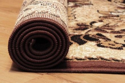 Dywan tradycyjny Krata brąz, dywan z klasycznym wzorem kratki i kwiatów w odcieniach brązu i beżu