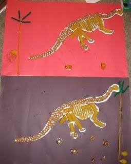 DINO SKELETON: Construction Paper, Dinosaur Skeleton Template, Macaroni Noodles, Penne Noodles, Fettucine Noodles, Shell Noodles, Glue
