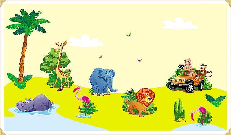 Riesige Wandaufkleber Wandsticker Set XXL Wandtattoo Dschungel Safari
