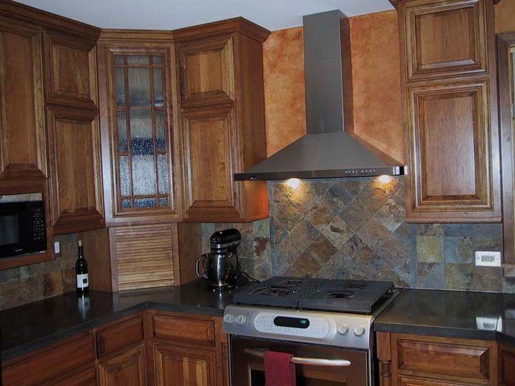 Slate Backsplash, Solid Color, Concrete Counter.
