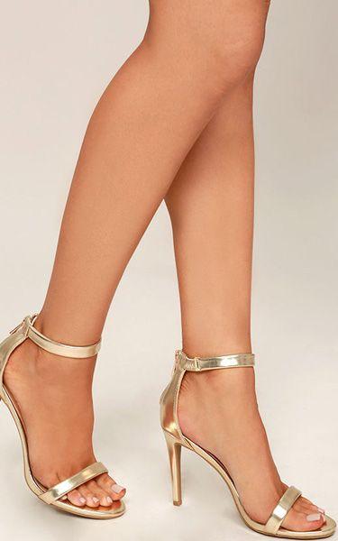 Pretty Gold Ankle Strap Heels via @bestchicfashion
