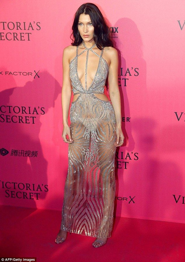 Flashing the flesh: Bella, 20 -who made a triumphant debut as an Angle for the famed show -went for an extremely plunging see-through number