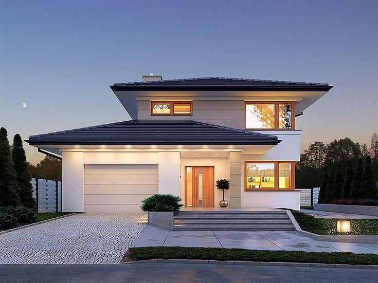 Projekt domu piętrowego Karat o pow. 157,99 m2 z garażem 1-st., z dachem kopertowym, z tarasem, sprawdź!