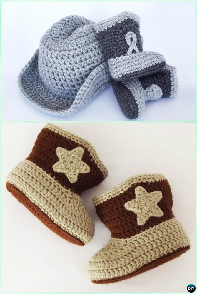 DIY Crochet COWBOY BOOTS Free Pattern - Crochet Ankle High Baby Booties Free Patterns