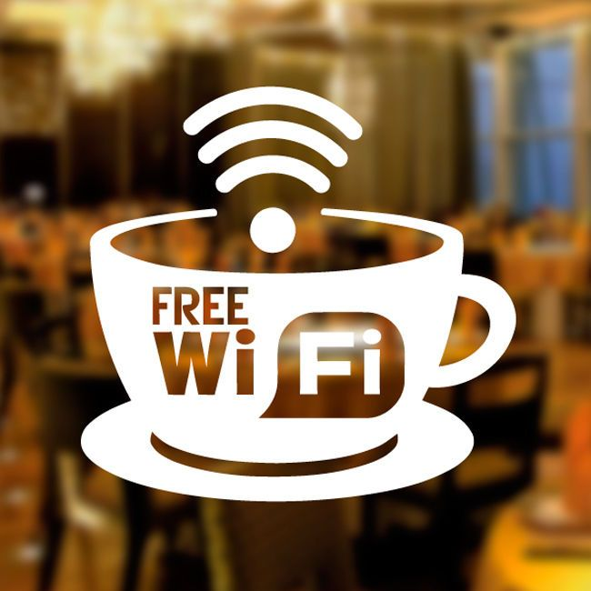 Details About Free Wifi Cup Window Sign Vinyl Sticker