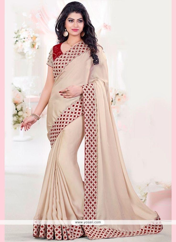 Modish Beige And Red Cut Work Art Silk Designer Traditional Saree Model: YOSAR11109