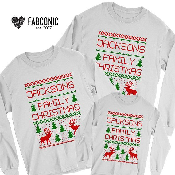 Ugly Christmas Sweater Custom Family Name Custom Christmas