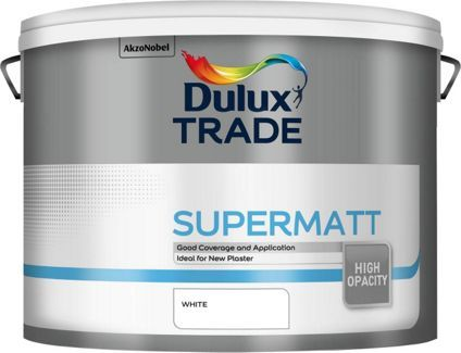 Dulux Trade Supermatt Emulsion Paint White 10L, breathable for new plaster or damp permeable walls