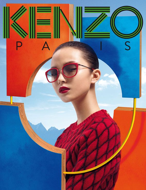 Xiao Wen - Colorful World - Kenzo Accessories Fall/Winter 2012 Campaign  Frederik Heyman  www.frederikheyman.com  via kenzo.com    for #composition #color #motion