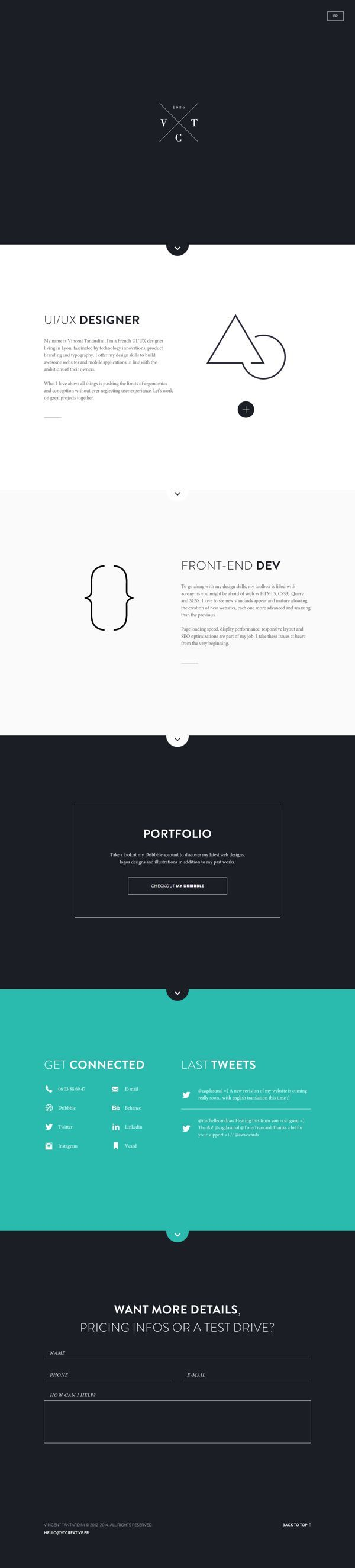 Personal website by Vincent Tantardini, via Behance