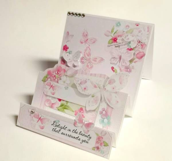 Pretty step card with butterflies and flowers!  The soft colours of pink and green add such beauty to this cottage chic stepper card!   Card created using Butterfly Garden Collection from Nitwit Collections #cardmaking