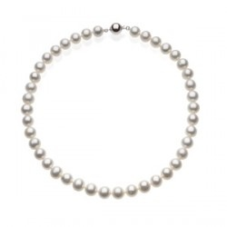 This 18 inch, genuine cultured fresh water pearl necklace in sterling silver is an exceptional purchase. This freshwater white cultured pearl necklace has the very large 10mm to 12 mm diameter pearls that are perfect for bridal jewelry and other dressy occasions. This size pearl is not typically available at this discounted price.    There is also a matching 7.75 inch pearl bracelet priced at $132.    THIS ITEM IS PRICED AT MSRP OF $330 LESS 28%