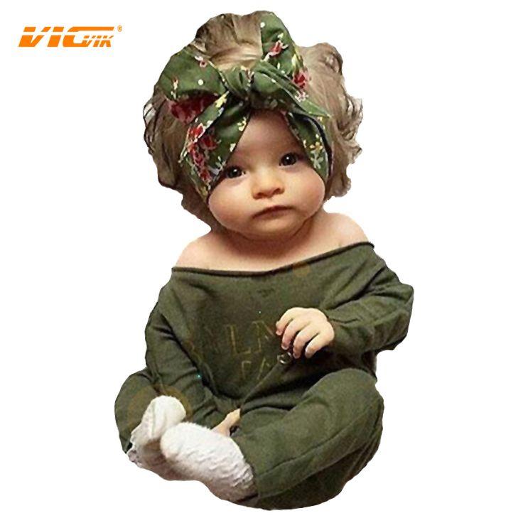 VICVIK Children Cloth Set Suit Baby Cartoon Printed Long-sleeved 0-24 Months Bodysuits Cute Jumpsuit for Girls Boys D05X02