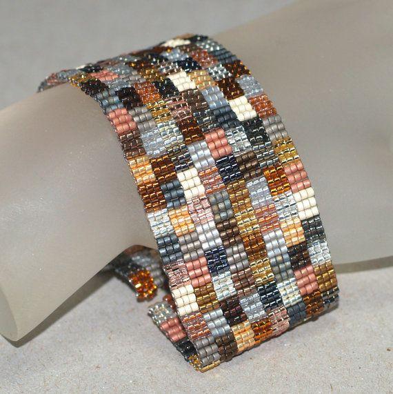 Patchwork Mine ... Beadwoven Bracelet . Geometric . Handmade Jewelry . Peyote Cuff . Silver . Gold . Bronze . Metallic . Squares. $50.00, via Etsy.
