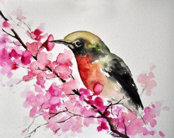 ORIGINAL Watercolor Painting Colorful Watercolor by ArtCornerShop